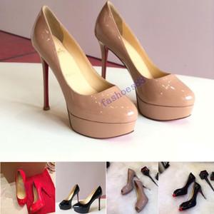 Kutusu ile 2020 Klasik Marka Kırmızı Alt Yüksek Topuklar Platformu Ayakkabı Nude / Siyah Patent Deri burnu Kadınlar Elbise Düğün Sandalet Ayakkabı