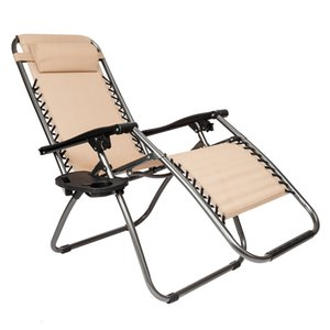 WACO Outdoor Lounge Chair Recliners set of 2, Plum Blossom Lock with Saucer Lounge Garden Balcony Patio Pools Travel Portable Benches Khaki