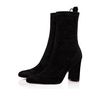 أنيقة الكعوب المصمم السيدات وحيد العليا من الجلد المدبوغ أحذية الكاحل للنساء الأحمر الحذاء أسفل فاخر مصمم فستان الزفاف الأسود