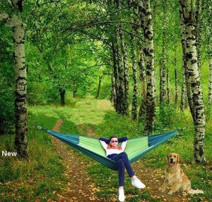 270*140cm Camping Hammock 2 Person Portable Parachute Nylon Outdoor Travel Sleep Hammocks With Ropes Swing Hanging Bed MMA1975