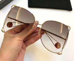 0252s 0252 Sunglasses Gold Brown Gradient Pearl Oversize Sunglasses Women Sunglasses Gafas de sol new with box