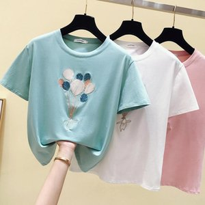 2020 summer new Korean Sequin embroidered balloon candy color and loose short sleeve T-shirt women's bottoming shirt