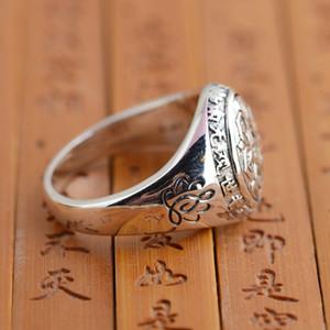 Настоящее Ювелирные Изделия Стерлингового Серебра 925 Буддийские Шесть Слов Мантра Быть Старого Стиля Кольца для Женщин Мужчин Подарок SY20992