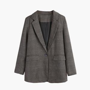 Женщины весной и осенью плед Blazer куртка Тонкий Тонкий пиджак Женщины корейской версии профессионального Wear Ретро мода простой пальто