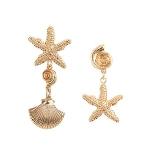 2019 Summer Asymmetric Alloy Shell Starfish Ladies Beach Metal Pendientes para mujeres