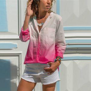 С длинным рукавом отворотом шеи Женские рубашки модные женские однобортные блузки с карманом градиент цвета дизайнерская Женская одежда