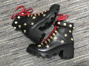 de fundos de ar vermelho martin GG Mulheres Austrália clássico ajoelhar Botas Ankle boots Imitação Pear couro bordado bota mulheres de moto