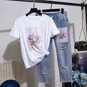 Robe à deux pièces 2021 Summer Femme T-shirt Sequins Fleurs Lâche manches courtes T-shirt + Mode Hole Jeans Ensemble Vêtements Femmes D3620