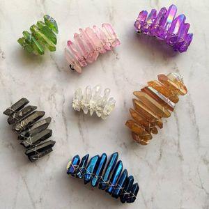 Angel Aura Кристалл Барретт Природный камень Bohemia Ponytail Зажимы для женщин французский клип Радуги Кварцевый Аксессуары для волос