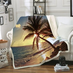 Wholesale 3D digital printing blanket air conditioner quilt thickening double plush blanket beach pattern series MT0022