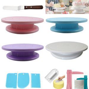 10pcs / set de la torta mesa giratoria soporte de la torta herramientas de plástico Masa cuchillo pasta de azúcar pizza placas giratorias de azúcar que adorna gratis