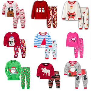 35 개 스타일 크리스마스 어린이 잠옷 세트 운동복 잠옷 한 벌 2 개 의상 산타 클로스 잠옷 정장 아기 사슴 인쇄 홈 의류 M577을 설정합니다