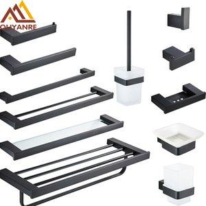 MaBlack Badezimmer Hardware Sets Toilettenpapierhalter Handtuchhalter Regal Bürstenhalter Haken Seifenspender Bad-Hardware-Sätze