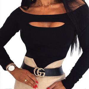 Frauen weg von der Schulter Langarm-loser T-Shirt Damen-beiläufige dünne Bluse Tops