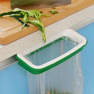 Útil Verde Trash Garbage Bag rack Anexar Titular / Over Cabinet Armário Porta Cozinha Casa de Banho