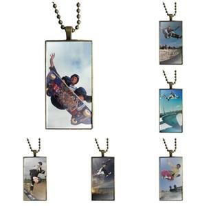 Para unisex de collar de regalo con el bronce plateado cristal cabujón Gargantilla Collar largo pendiente del rectángulo, Tony Hawk Monopatín Leyenda