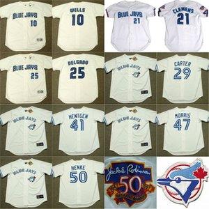 Toronto Blue 10 VERNON WELLS 21 ROGER CLEMENS 25 CARLOS DELGADO 29 JOE CARTER 41 PAT HENTGEN 47 JACK MORRIS Throwback Accueil Baseball Jersey
