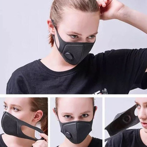 Unisex Partido Esponja Máscara Máscara Dustproof PM2.5 poluição Meia cara com máscaras válvula lavável Halloween Party reutilizáveis Preto Capa Respirador