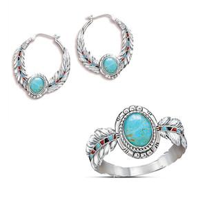 Retro Hochwertige Europäische und Amerikanische Luxuriöse Türkis Adler Feder Ring Party Hochzeit Ringe für Liebhaber Geschenk