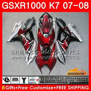 Suzuki GSXR 1000 GSX-R1000 K7 GSXR-1000 07 08 Bodywork 12HC.55 GSX R1000 와인 레드 Stock GSXR1000 07 08 2007 전신 키트