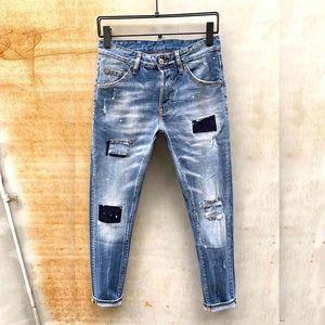 dsquared2 DSQ D2 DSQUARED2 de diseño de moda los pantalones vaqueros hombres de la marca s cremallera verdadera delgado lavado decorado pantalones casuales urbanas caliente