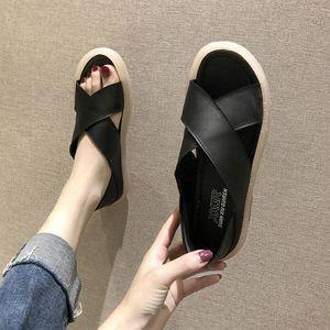 Sandals Outdoor Cool Women's Ladies Flat Cross Belt Slip On Beach Sandals Roman Shoes Slippers 2020 New Peep Toe Summer Shoes