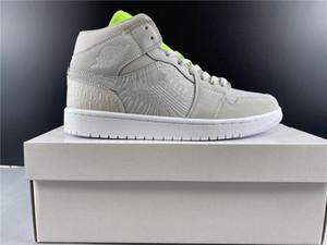Nouvelle version authentique Air1 Mid Wmns Vastes chaussures de basket-ball gris 1 Mid Chicago Noir Toe Hommes Femmes en plein air Sport Trainer US 4-12