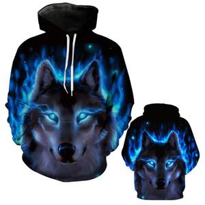 Abbigliamento uomo autunno e inverno Felpa con cappuccio 3D Wolf Stampa digitale con cappuccio Felpa con cappuccio casual Felpa con cappuccio da uomo