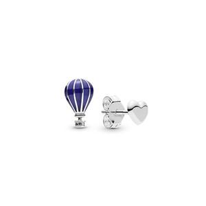 Caixa de Pandora prata esterlina 925 estabelece novos azul Balão de ar quente coração brincos originais Asymmetric Brinco por Mulheres