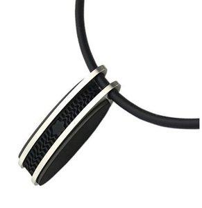 Moda silicone preto pingente de colar de aço inoxidável com colar de pingente de borracha para homens estilo de design legal de borracha cadeia de comprimento 46 cm