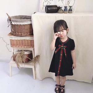 Boutique vestir a las niñas de manga corta verde rayado rojo abeja Niños vestidos de manga de soplo del verano de los niños muchachas del vestido ropa de gran calidad