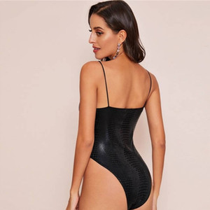 2020 Black Corcodile Embossed High Leg Cami Bodysuit Women Spring Summer Strap Deep V Neck High Waist Sexy Bodysuits