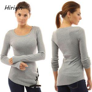 T-shirt manches longues femmes Hauts femmes 2020 Printemps Automne T-shirt femmes style coréen T-shirt Taille Coton Nouveau plus T-shirt