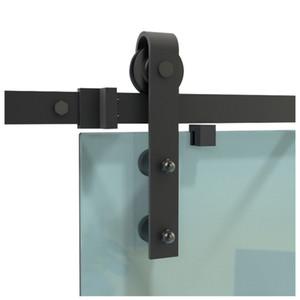 DIYHD 5.5ft vidrio negro rústico deslizamiento hardware de la puerta del granero sin marco interior deslizante pista puerta de cristal