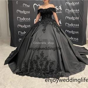 Vintgae Balo Tatlı 16 Quinceanera Elbiseler Kapalı Omuz Dantel 3D Aplikler Örgün Balo Abiye Vestidos De 15 Años
