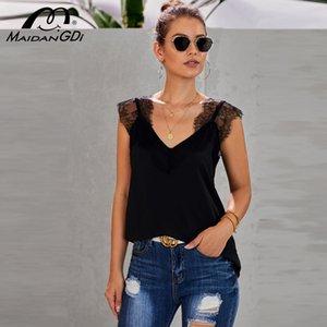 MAIDANGDI Woman New 2020 Summer Sexy Vest T-shirt Women's V-neck Sleeveless Lace Stitching Sling Top Plus Size