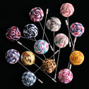 Tailor Smith fleurs à la main épinglette Top Fashion Costume Boutonnière Forme Rose Bâton Homme Accessoires 14 Broches Couleurs