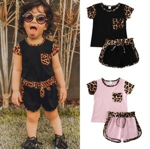 Kids Designer Clothes Baby Girls Leopard Print Clothing Sets Pocket T-shirt Top Shorts Suit Summer Fashion Short Sleeve Pants Outfits AYP536