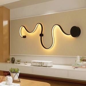 Chambre à coucher salon LED lumière s-courbe mur lumière simple moderne en aluminium créatif maison fond mur allée chevet lampe