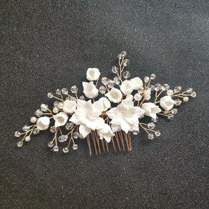 ashion Jóias SLBRIDAL artesanal de cristal Rhinestone simuladas pérolas nupcial Flower Ceramic Cabelo Casamento Comb cabelo Pinos Adesivos Mulheres J ...