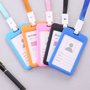 Badge Holder Portable Double-Sided Transparent Employee Plastic ID Card Holder Name Tag Lanyard Neck Strap