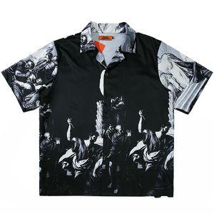 2020 T-shirt Hip Hop Streetwear pittura antica Stampa Mens Estate Hawailian shirt oversize Harajuku Beach Camicia HipHop allentato