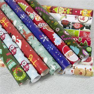 Papel de envolver de Navidad Decoración de Navidad Caja de regalo de bricolaje paquete historieta del papel de Santa Claus muñeco de nieve ciervos Presente Papel de envolver XD22543