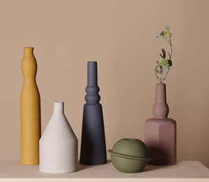 flor seca florero de cerámica de color molandi estilo del norte de Europa la creatividad INS salón decoración de arreglo floral sencillo hogar