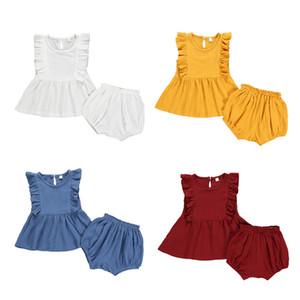 Bebés Meninas Outfits Sólidos Ruffle Voador luva Casual Vestido Shorts duas peças Define Crianças roupas de lazer meninas bebê veste 18M-4T 07