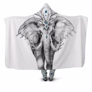 Majestic Elephant 3D Print Hooded Blanket Couch Sofa Quilt Cover Travel Velvet Plush Throw Fleece Blanket Bedspread Home Office
