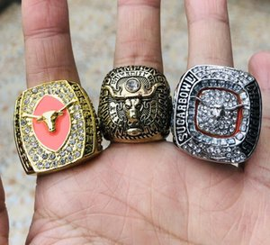 3PCS 1969 2005 2018 Texas Longhorn Team Champions Championship Ring With Woden Box Set Souvenir Men Fan Gift 2019 wholesale Drop Shipping