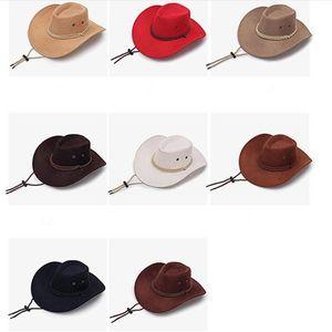 Retro unisex parasol Knight sombrero occidental sombreros de vaquero vaquera de ala ancha sombreros de verano Turismo Headwear al aire libre que acampa yendo a caballo Cap C510