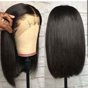 Reta dianteira do laço Bob Wigs curto peruca cheia do laço com cabelo do bebê ao Lado Glueless peruca dianteira do laço por Mulheres