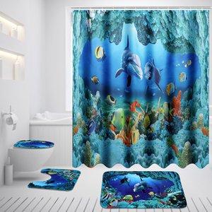 Ducha océano Dolphin Deep Sea cortina de poliéster Cortinas impermeables para Baño + Pedestal Alfombra tapa del inodoro cubierta de la estera de baño Set Y200108